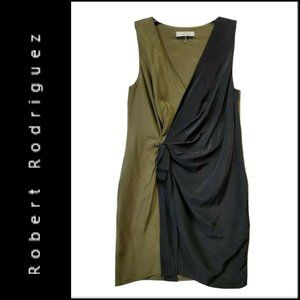 Robert Rodriguez Sheath Faux Wrap Sleeveless Dress